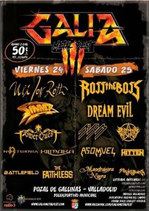 GALIA METAL FEST: Uli Jon Roth + Sinner + Power Quest + Nocturnia + Kilmara + Battlefield + The Faithlessback @ Pozal de Gallinas